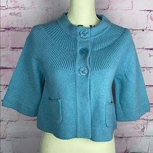 APOSTROPHE Teal Knit Cropped Cardigan Sweater